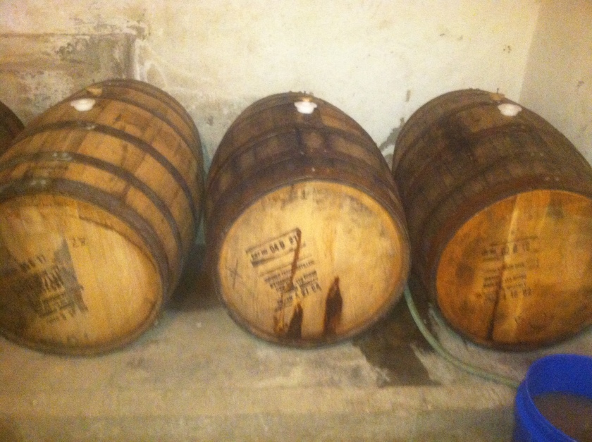 Buffalo Trace Barrels with Stout and Scotch Ale!